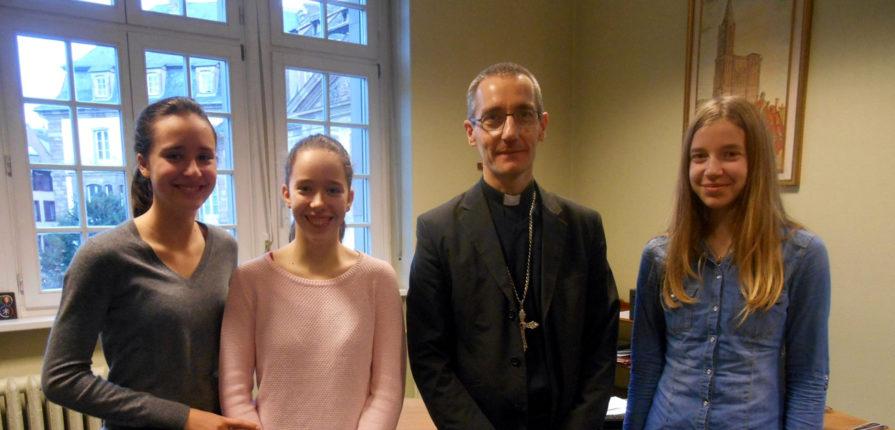 Mgr DOLLMANN et trois 4°T, mars 2017, archevêché, Strasbourg.