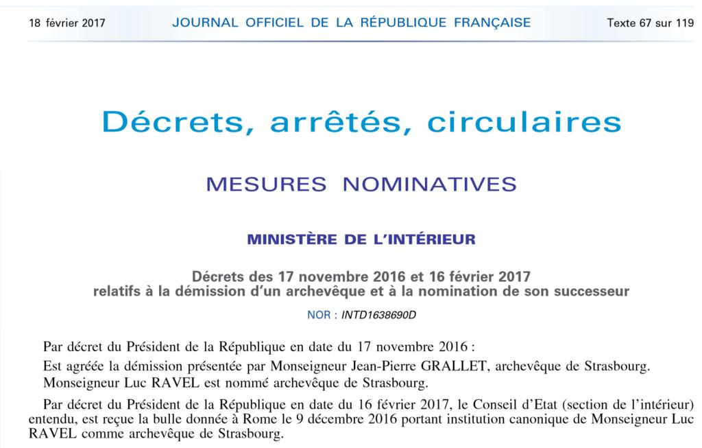 Décrets du 16 février 2017 relatifs à la nomination de l'archevêque de Strasbourg, Journal Officiel de la République Française, 16 février 2017.
